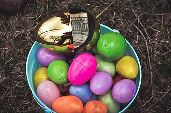 "Surprise Egg Metallic Shiny Gold 5.5/"" EMPTY INSIDE Fillable Easter Egg Hunt"