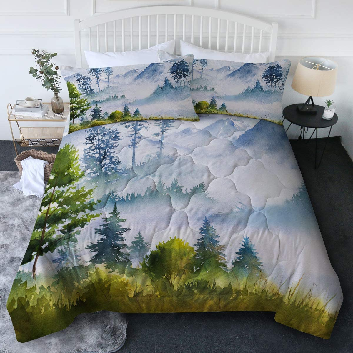 Amazon Com Blessliving 3 Piece Mountain Comforter Set With Pillow Shams Modern And Urban 3d Printed Bedding Set Reversible Comforter Twin Twin Xl Size Soft Comfortable Machine Washable Home Kitchen