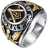 INRENG de los Hombres Anillo de Acero Inoxidable clásico Freemason Masónica símbolo Biker Banda Plata Oro
