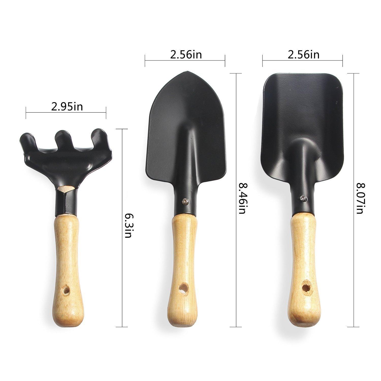 3-Piece Mini Garden Hand Tool Set Wooden Handle Iron Garden Tools Planting Tools Shovel +Spade+ Rake Trowel Wood Handle Metal Head Gardener