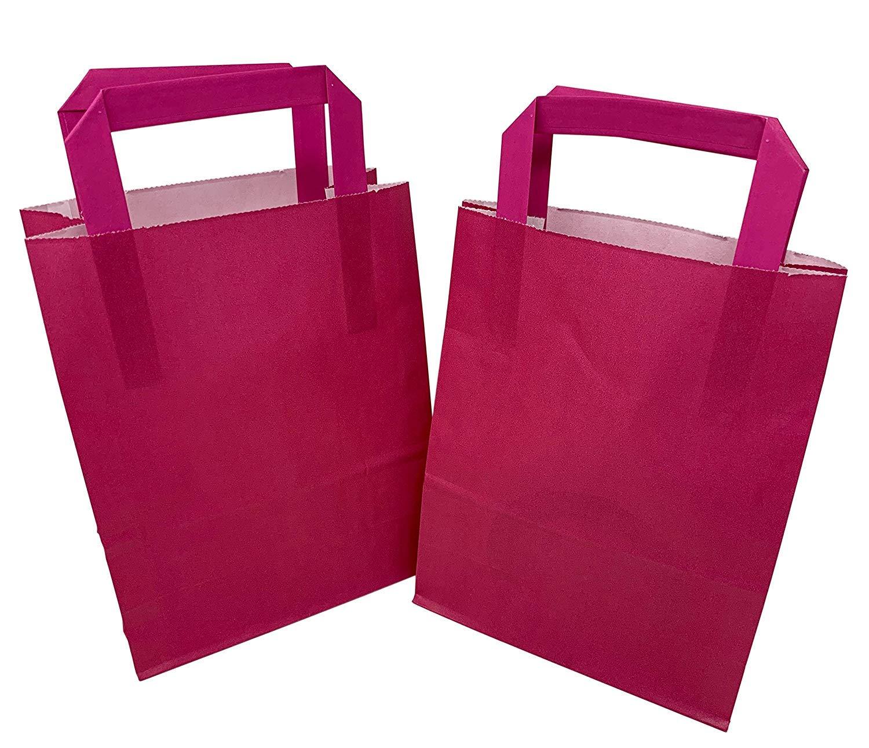 We Can Source It Ltd Papiertüten mit flachen Griffen, Kraftpapier, 18 x 23 x 8,5 cm, Neonfuchsiafarben, 500 Stück