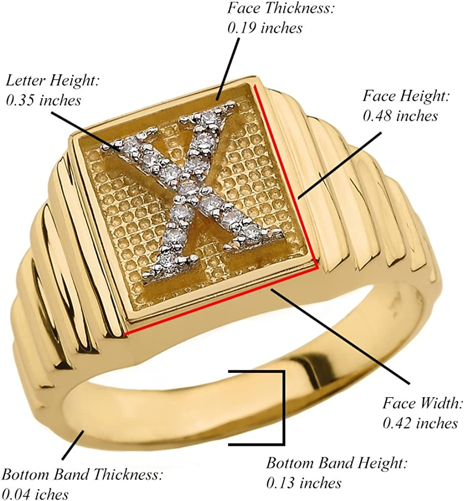 Size 9.75 Mens 10k Yellow Gold Layered Band Square Face Diamond Initial Letter Ring