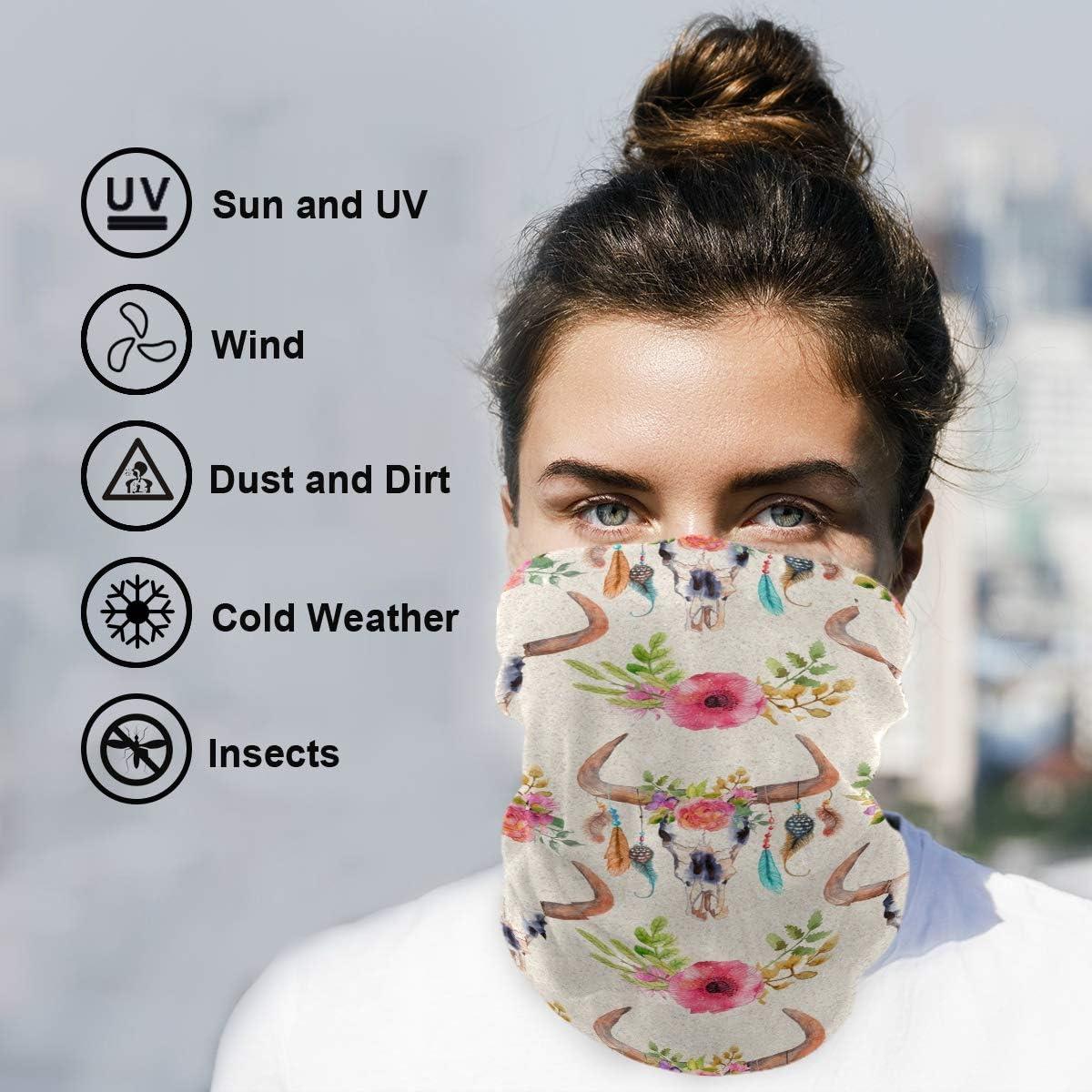 Bull Skull With Flowers Face Sun Dust Mask Magic Scarf Headwear Bandana for Running Fishing Outdoor Sport senya Neck Gaiter Face Mask
