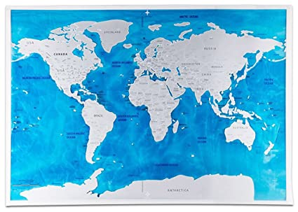 Scratch Off World Map Poster With US States Perfect For Travelers Highly Detailed Of Earth