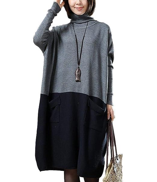 Battercake Pullover Mujer Lang Elegante Primavera Otoño Manga Largo High Collar Patchwork Casuales Mujeres Vestidos Anchos Moda Suéter Vestido De Punto ...