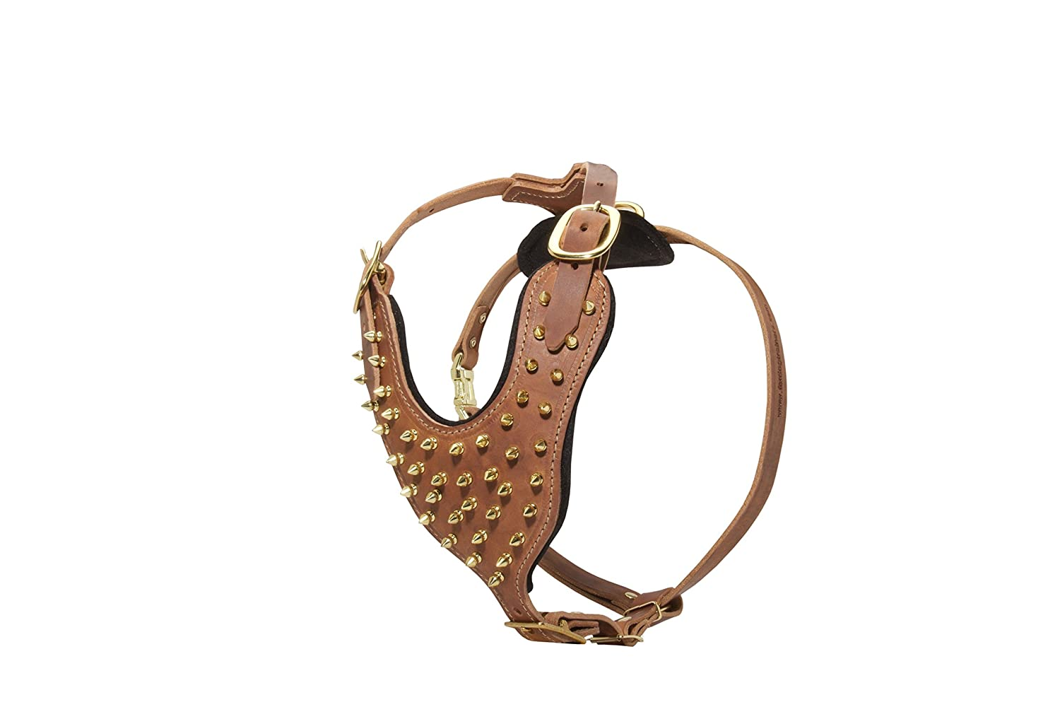 Brown L Brown L Designer Leather Dog Harness with Brass Spikes Brown, Large