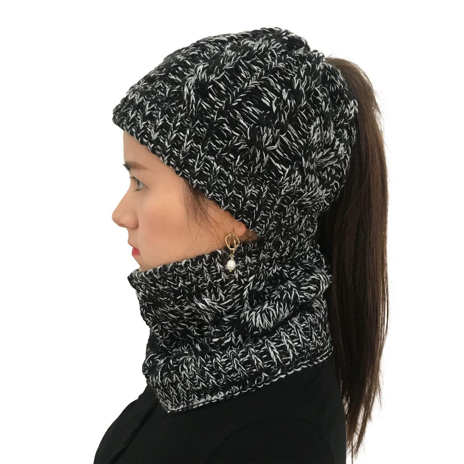 1f5fab44f Details about XYIYI Womens Girls Knit Infinity Scarf and Slouchy Messy Bun  Ponytail Beanie