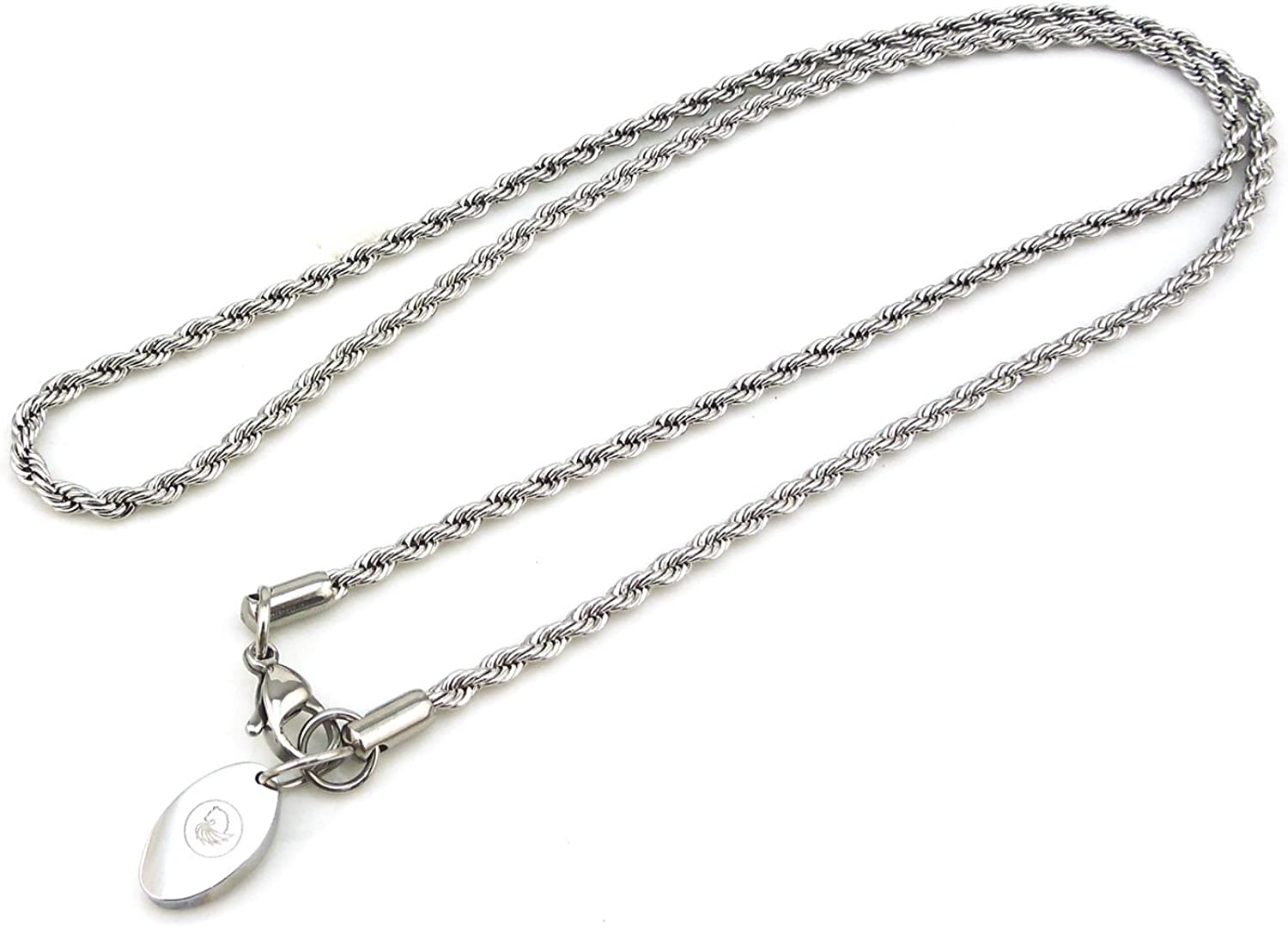 MMC Tag and Dumbbell Silver Pendants Necklaces