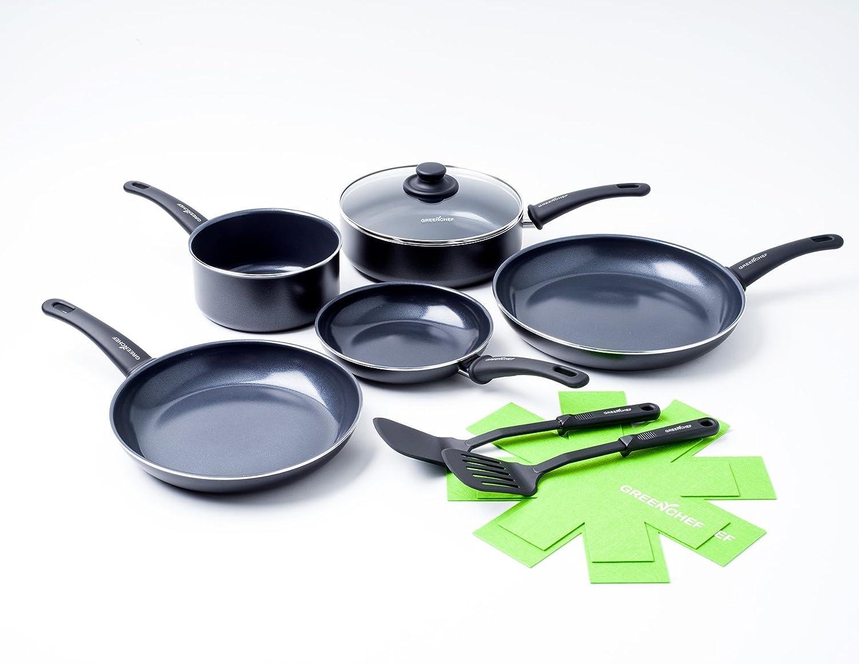 GreenChef Diamond Soft Grip Ceramic Non-Stick Cookware Set, Aluminium, Black, 5 pcs The Cookware Company CC000261-001