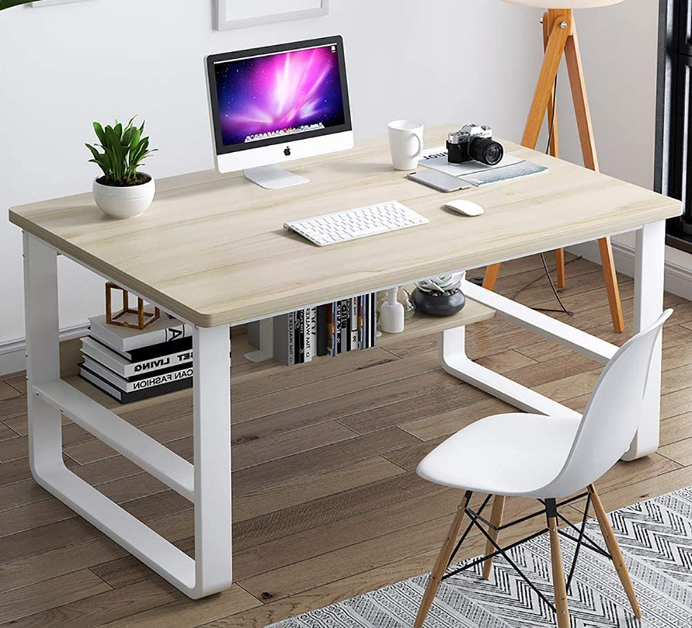 Computer Desk with Bookshelf,Notebook Writing Desk with Extra Strong Legs Sturdy Office Desk Modern Simple Table for Home Workstation