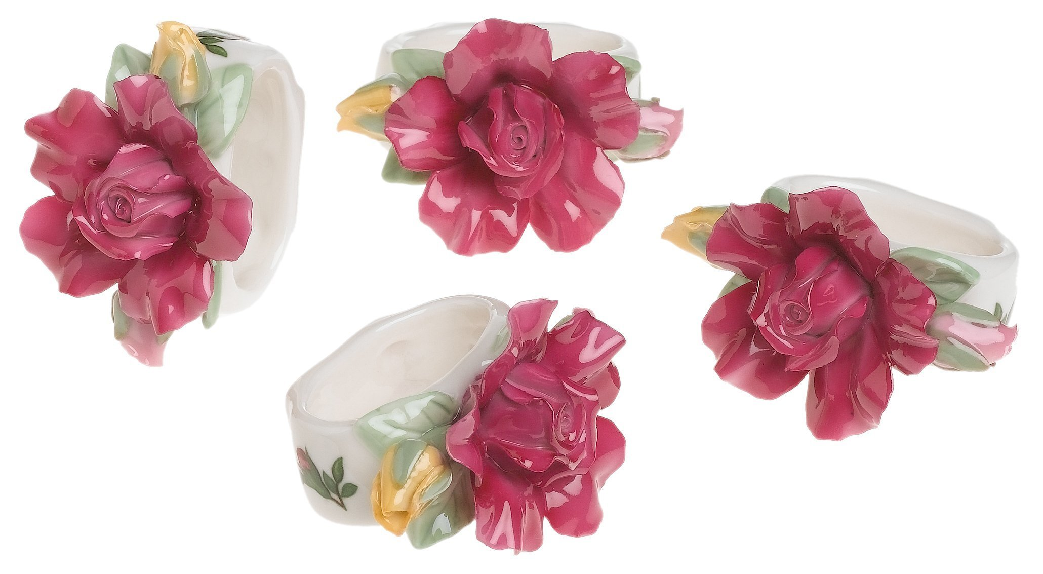 Royal Albert Old Country Roses Sculpted Napkin Rings, Set of 4