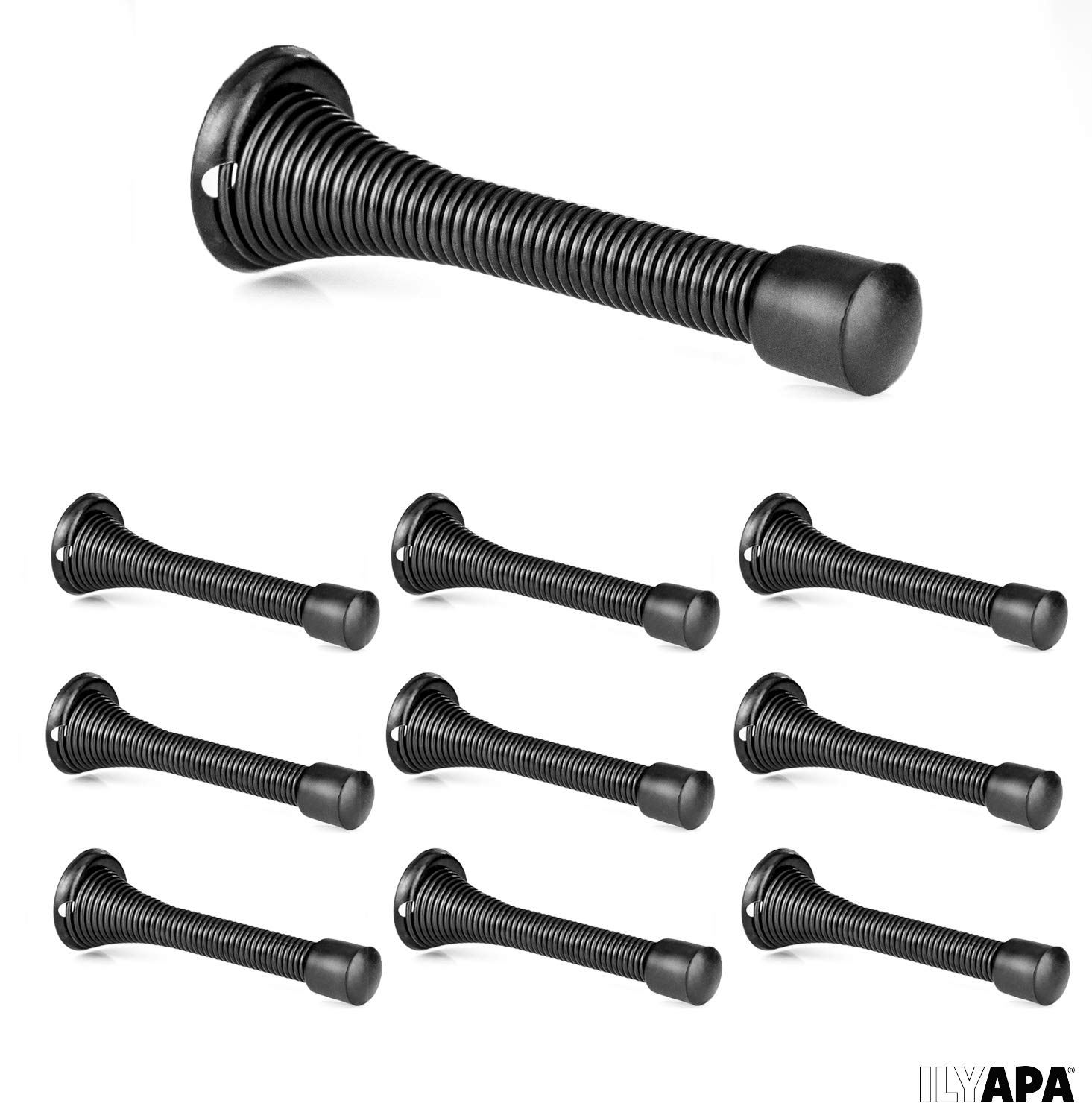 10 Pack of Spring Door Stops Black - 3 ¼ Inch Heavy Duty Door Stop - Traditional Spring Door Stop with Rubber Bumper by Ilyapa (Image #7)