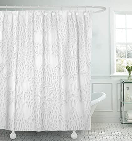 Amazoncom Emvency 72x72 Shower Curtain Waterproof Lace Crochet