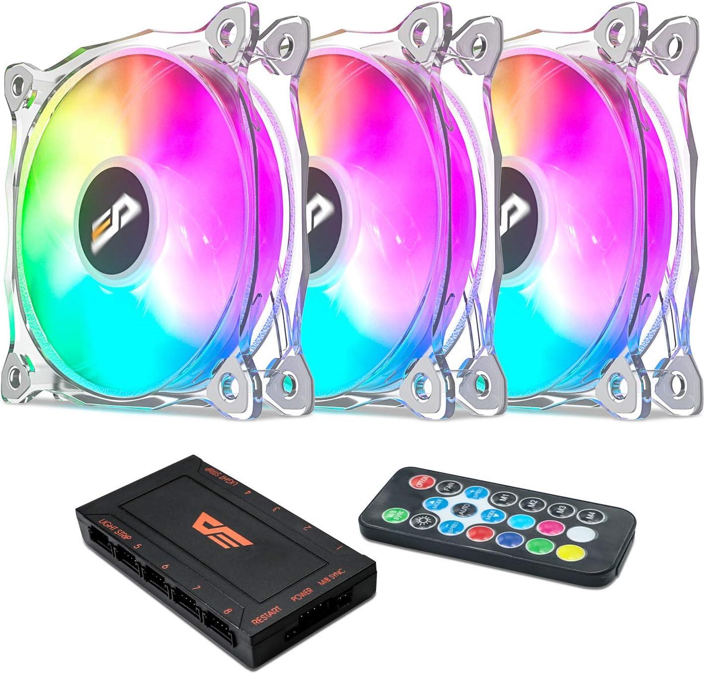 darkFlash 120mm RGB LED Case Fan for PC Cases CPU Cooling Fan Water Cooling Fan Addressable RGB Case Fan (CF8 PRO 3IN1)