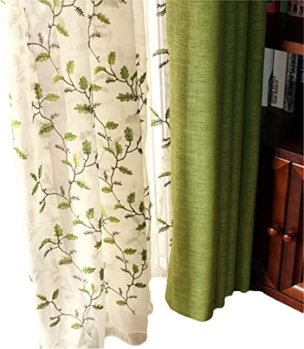 FADFAY Curtains Sheer Embroidered Floral Shabby Green Leaves Design White Sheer American Country Style Window Curtain 2 Panel