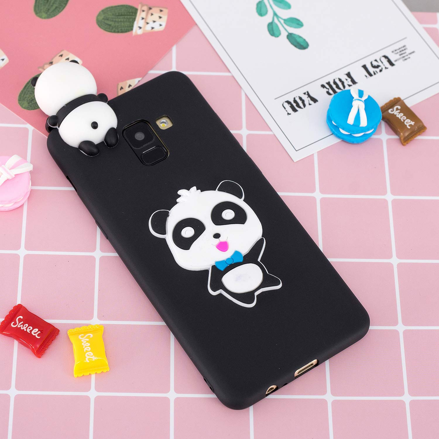 for Samsung Galaxy A8 2018 Silicone Case with Screen Protector,QFFUN 3D Cartoon [Panda] Pattern Design Soft Flexible Slim Fit Gel Rubber Cover,Shockproof Anti-Scratch Protective Case Bumper by QFFUN (Image #6)