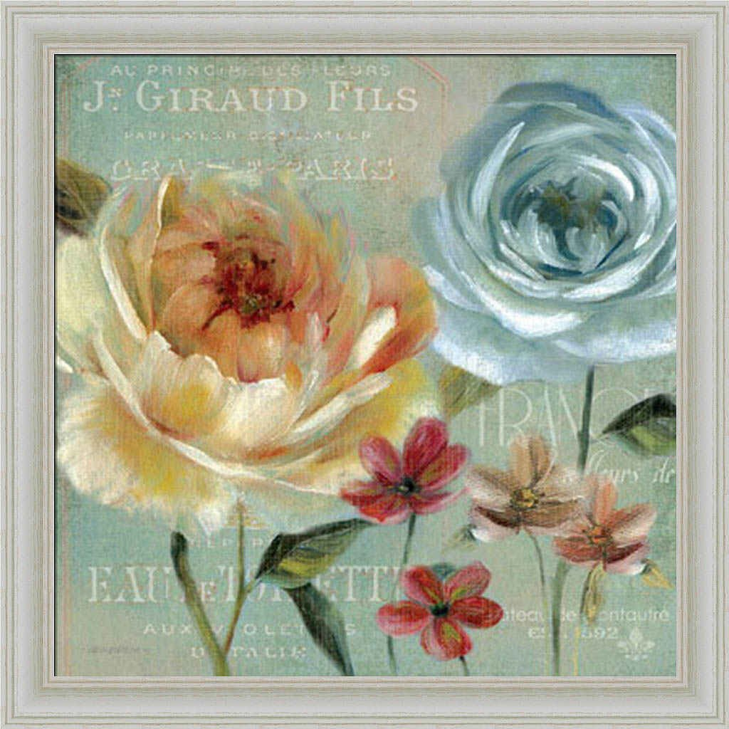 Le Jardin de Paris I Carol Robinson French Blue Floral Framed Art Print Wall Decor Picture