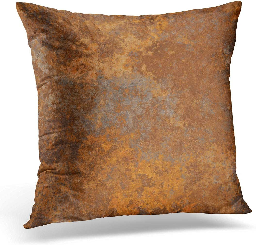 Emvency Throw Pillow Covers Case Brown Copper Old Rusty Metal High Resolution Orange Rustic Decorative Pillowcase Cushion Cover for Sofa Bedroom Car 20 x 20 Inches