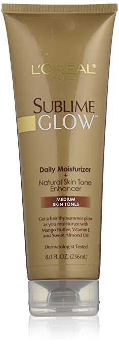L'Oreal Paris Sublime Glow Daily Moisturizer and Natural Skin Tone Enhancer Medium Skin Tones 8 fl. oz. Best Sunless Tanners
