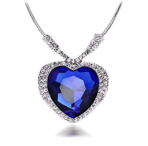 418a08e6a229c Huge Titanic Heart Of The Ocean Sapphire Blue CZ Crystal Necklace Pendant