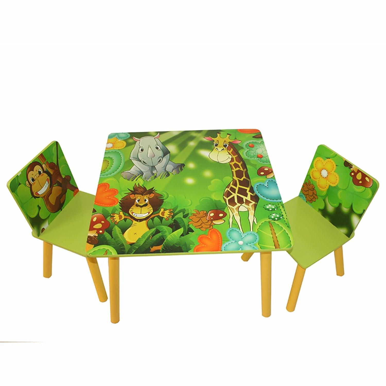 HOMESTYLE4U Stuoia di 1tavolo e 2sedie, sgabelli mobili set, motivo: giungla, legno, multicolore, 30x 30x 30cm HOMESTYLE4U_642