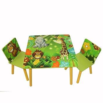 Kindertisch Stuhl homestyle4u 642 kindersitzgruppe dschungel tiere kindermöbel set