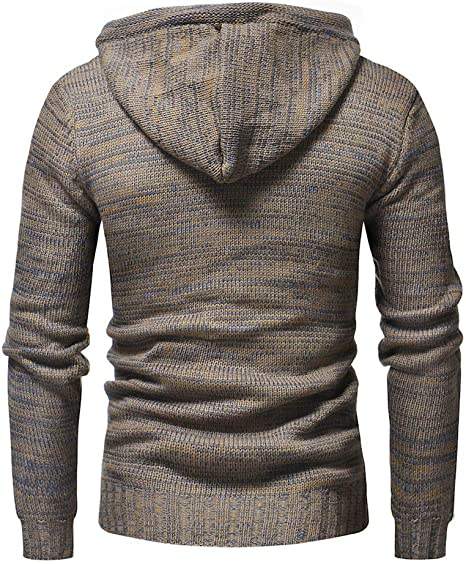 Fashion Solid Autumn Winter Hooded Knit Coat Long Sleeve Outwear Realdo Mens Knitted Pullover