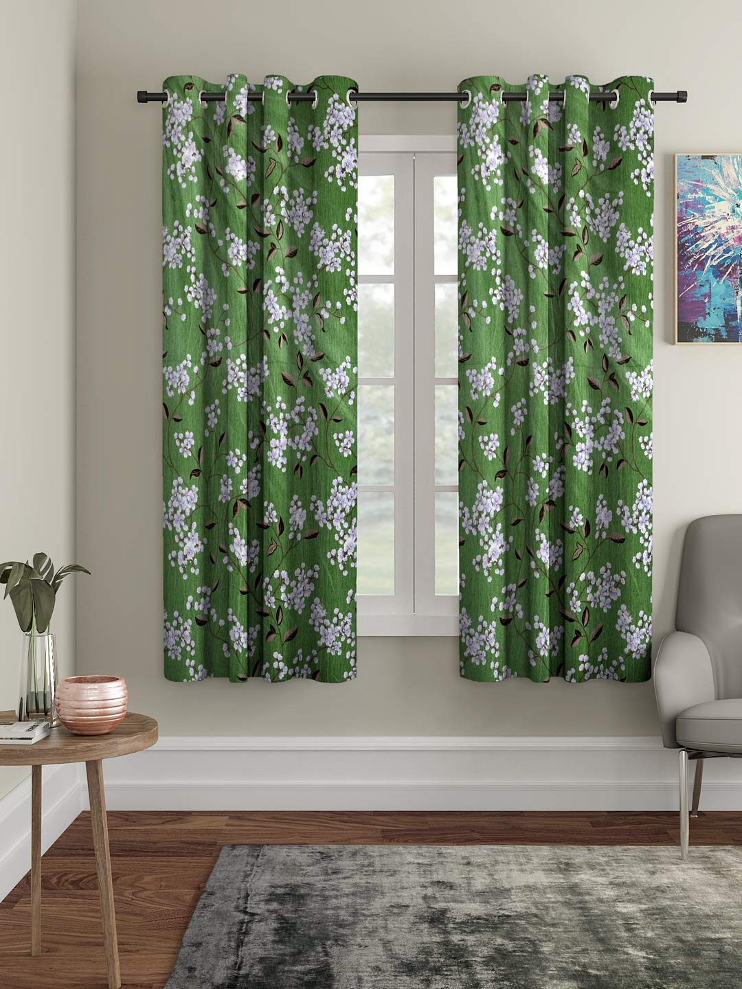 Buy Cortina 2 Piece Eyelet Polyester Window Curtain Set 5 Feet Fancy Printed Curtains For Your Living Room Bedroom And More Green 150 X 115 Cm Online At Low Prices In India Amazon In