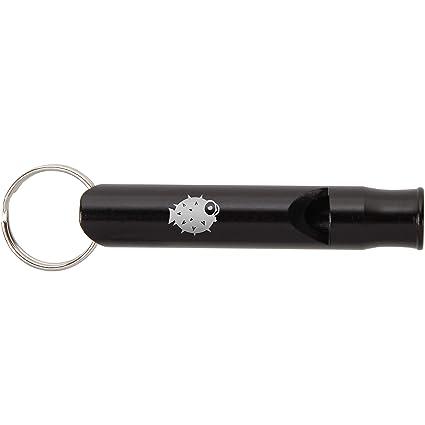 Amazon.com: Moderno llavero de silbato de metal negro con ...