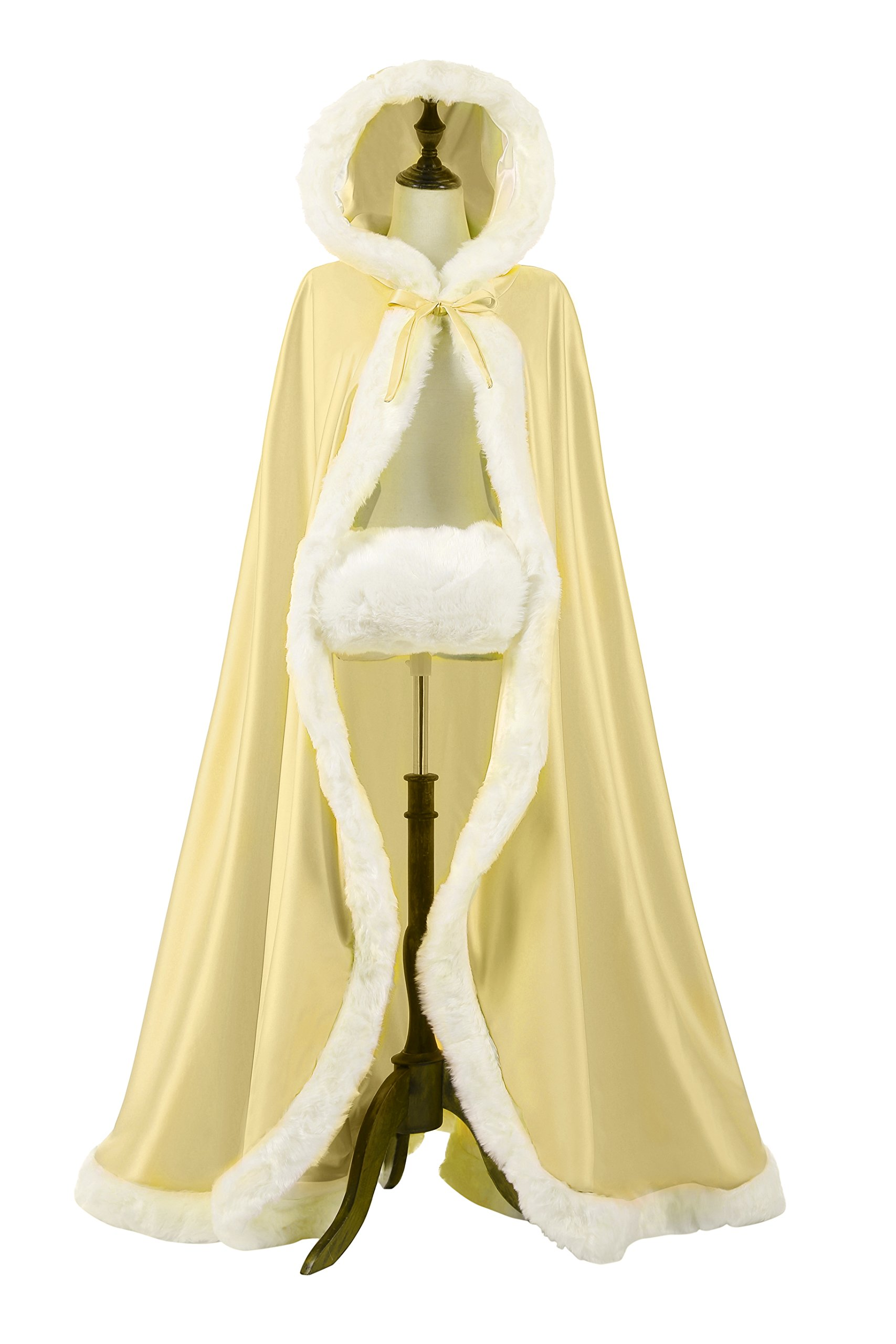 NUOMIQI Women's 57in Bridal Cape Wedding Cloak With Hand Muff Floor-length (Champagne)