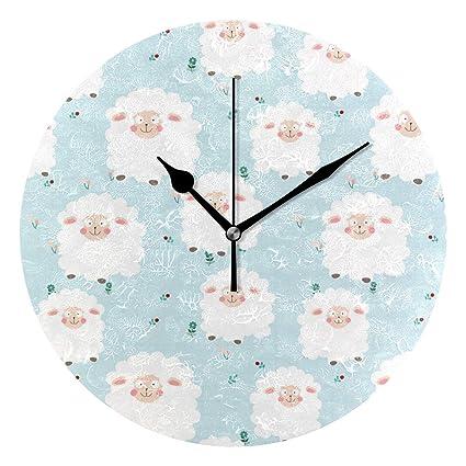 Amazoncom Jacksonnd Blithed Cute Soft Chic Sheep Round Wall Clock