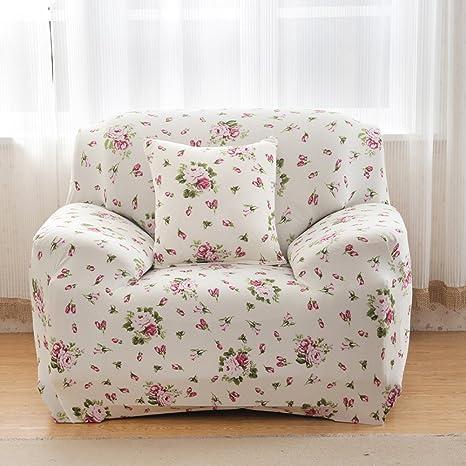 MONY Fundas de sofá 1 plazas funda de sofá estiramiento elástico del perro casero Sofá protector 1 seater Rosa Blanca