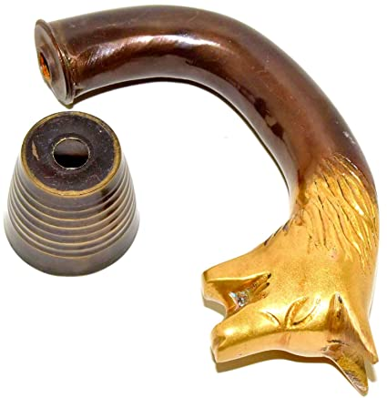 Vintage Designer Brass Handle Antique Style Victorian Cane Wooden Walking Stick