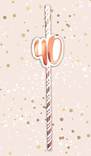 Alandra Cumpleaños STRAW-40 40 Pajitas de cumpleaños Crema y ...