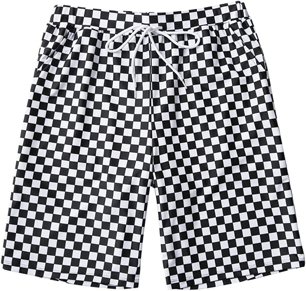 Shorts FJH Beach Holiday Beach Male Quick-Dry Loose Large Size Fashion Black and White Printed Hot Spring Swimming