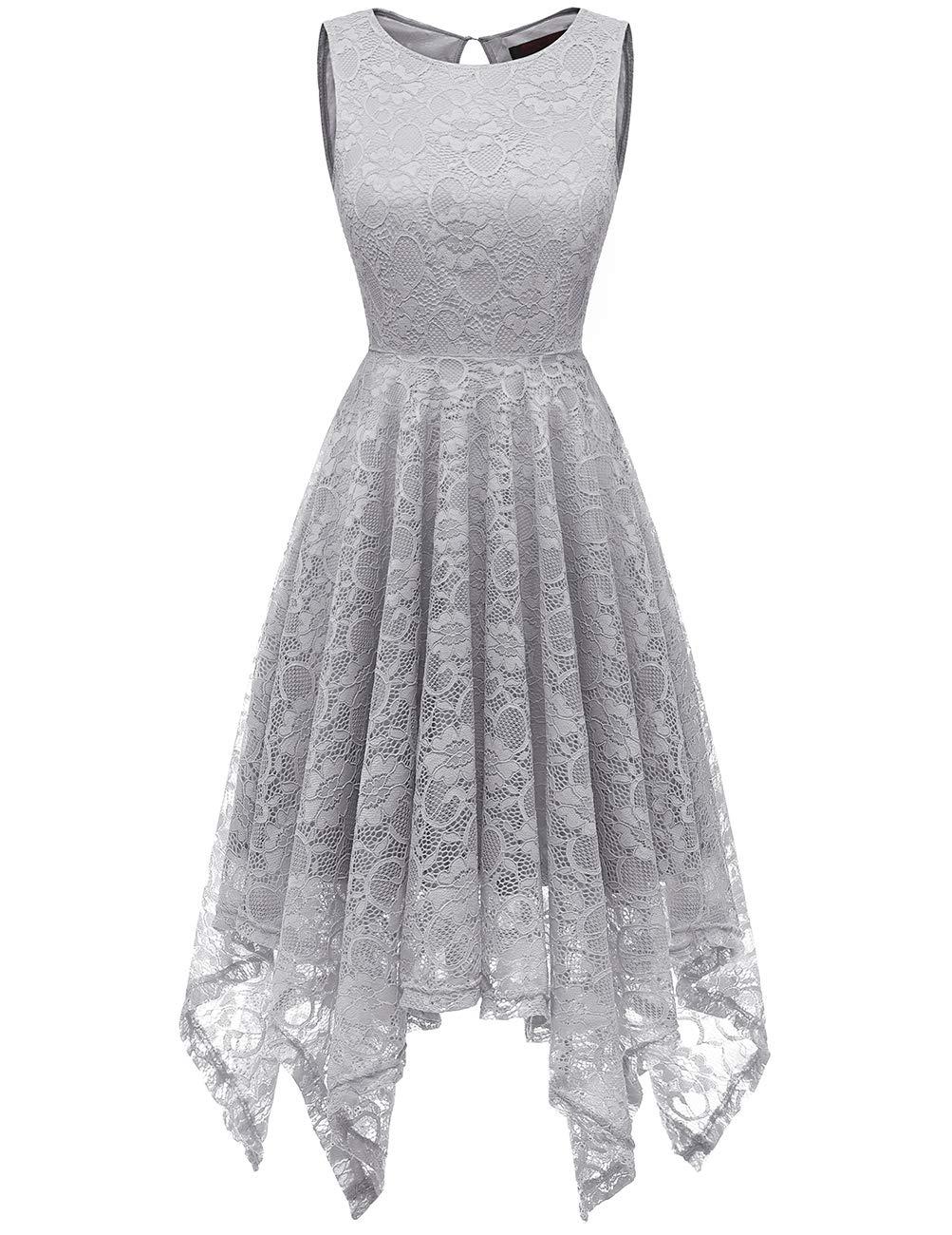 13b6b54cafc DRESSTELLS Women s Bridesmaid Floral Lace Handkerchief Hem Cocktail Party  Dress Grey 3XL