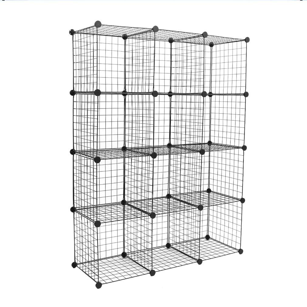 Kath 12-Cube Metal Wire Storage, Modular Shelving Grids, DIY Closet Organization System, Bookcase, Cabinet,Black