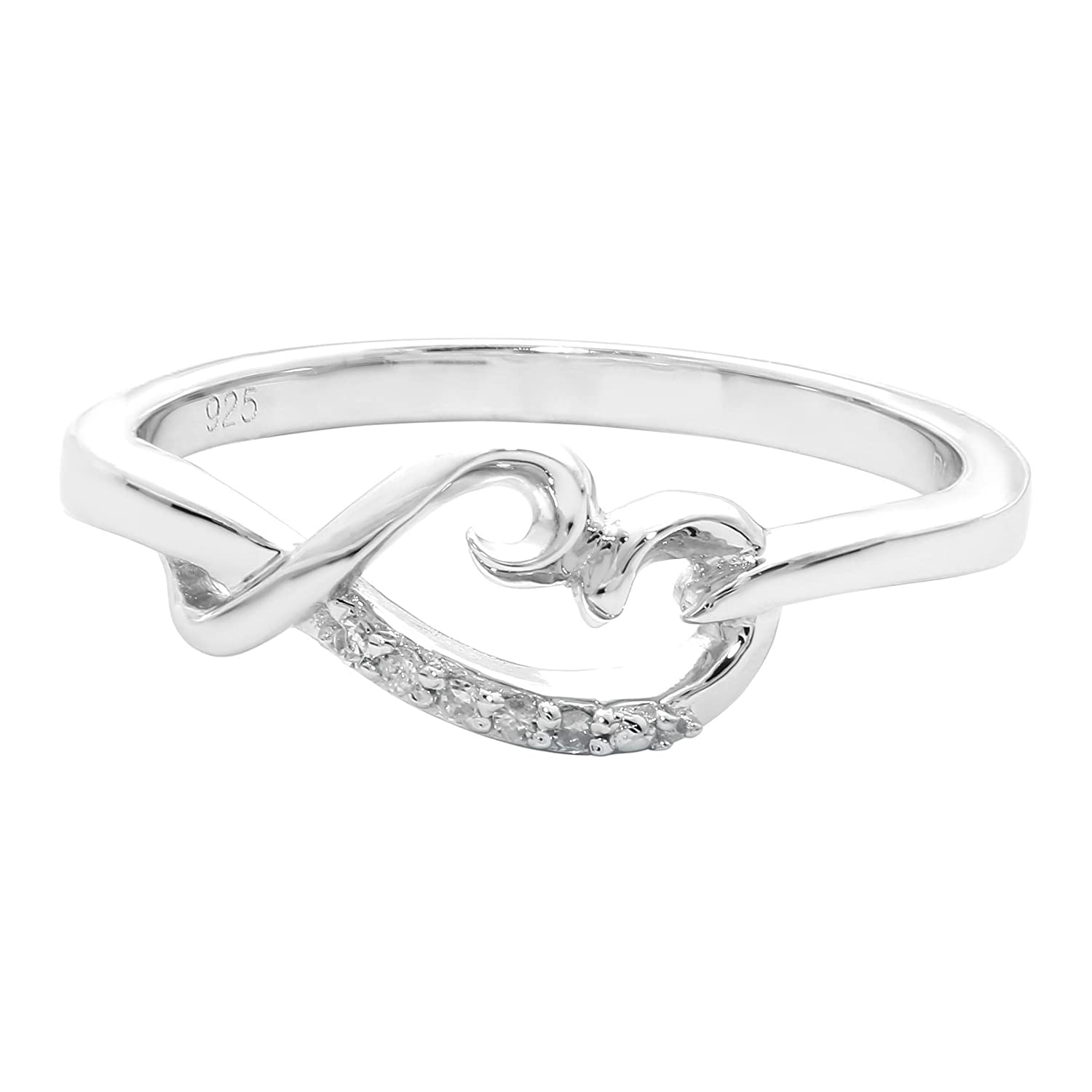 .025 cttw White Diamond 925 Sterling Silver Ring
