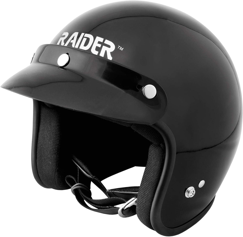Raider 26-611-16 Journey Gloss Black X-Large Adult Open Face Helmet