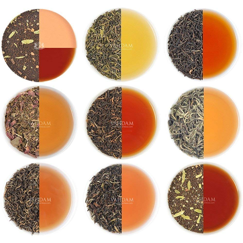 VAHDAM, Assorted Loose Leaf Tea Sampler - 10 TEAS, 50 SERVINGS - Black Tea, Green Tea, Oolong Tea, Chai Tea, White Tea | Tea Variety Pack | Hot, Iced, Kombucha Tea by VAHDAM