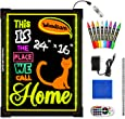 """Woodsam LED Drawing Painting Board - 24"""" x 16"""" Erasable Non Porous Glass Surface with 8 Fluorescent Window Markers-Best for Chalkboard Blackboard Whiteboard Bulletin/Letter/Spelling/Display/Menu Board"""