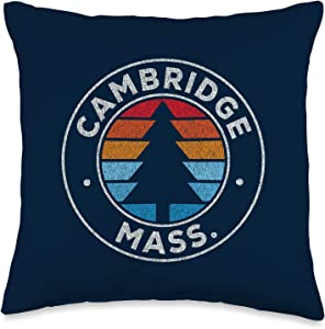 Vintage Cambridge MA Shirts & Retro Tees Cambridge Massachusetts MA Vintage Graphic Retro 70s Navy Throw Pillow, 16x16, Multicolor