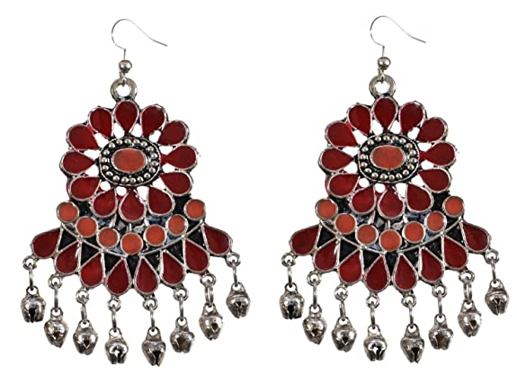 Sansar India Kuchi Afghani Indian Earrings Jewelry for Girls and Women