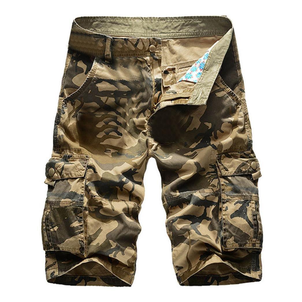 Men Sweatpants, Summer Casual Short Pants Camo Cargo Shorts Sport Outdoors Pants Slim Fit Shorts with Pockets (36, Khaki)