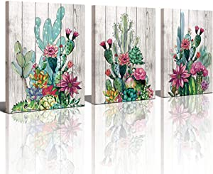 Yiijeah 3 Piece Framed Wall Art Watercolor Tropical Plant Desert Cactus Canvas Print for Bedroom Bathroom Spiny Flower Artwork Home Office Wall Decoration 12x16 3 Panels Decor