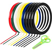 Whiteboard Tape, BENBO 10 Rolls 1/8 Wide x 55yd Long Assorted Color Art Tape Chart Graphic Pinstripe Electrical Tape…