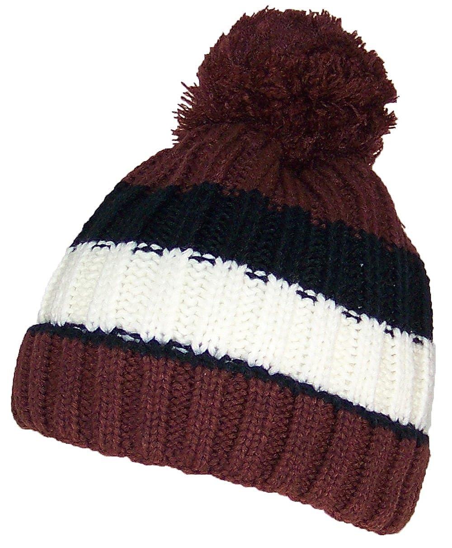 Amazon.com  Best Winter Hats Boys Striped Fleece Lined Pom Pom Cuffed Beanie  (One Size) - Brown Black White  Clothing cc5e33a3cc8