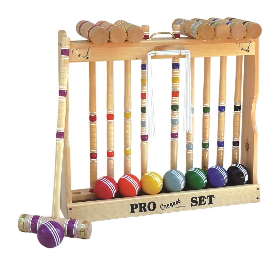 8 Player Croquet Set Amish-made in Wood Rack with 28'''' Handles by AmishShop.com