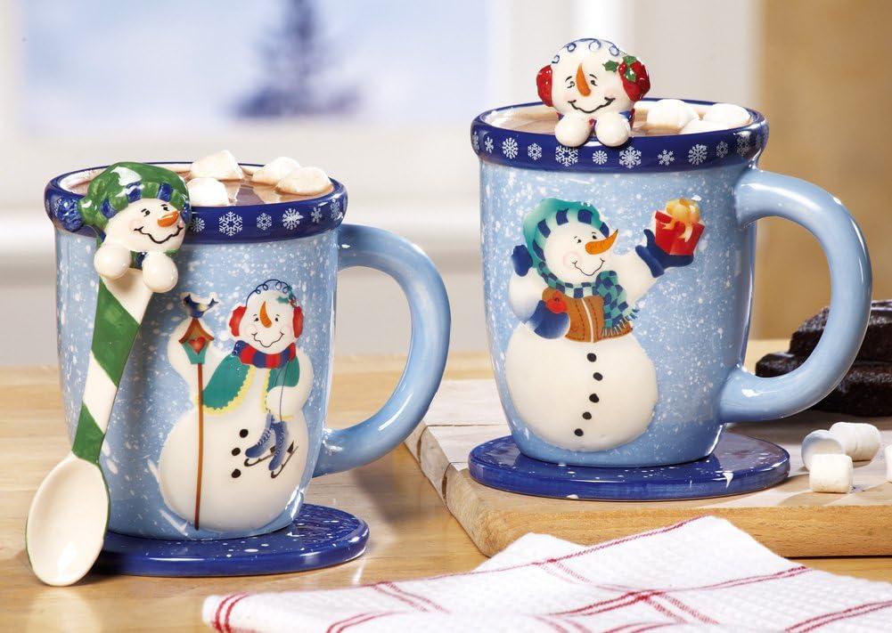 Collections Etc Snowman Holiday Mug and Spoon Gift Set