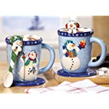 6 Pc Winter Holiday Snowman Mugs Set Spoon & Coasters Hot Chocolate Coffee Tea Cups Ceramic Christmas Gift Stocking Stuffer Kitchen Decor